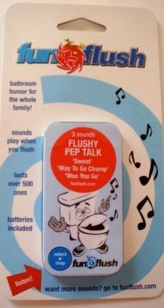 Blackrock Innovations 10302 Pep Talk Toilet and Bathroom Humor Gag- Pack of 2 by Blackrock Innovations. $17.67. Durable:Uses a waterproof housing and a long-life battery to ensure months of enjoyment; 200 cycles; Item length: 7.25 Item Height: .5 Item Width:4.0; Design is stylish and innovative. Satisfaction Ensured.; Great Gift Idea.; Pep Talk. The Ultimate Toilet and Bathroom Humor Gag:. FunFlush is a device that would emit recordings, sayings and phrases that trigger w...