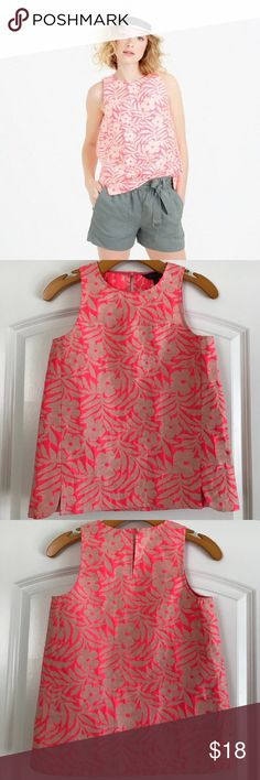 """Seamed Shell Top in Plumeria Jaquard Adorable sleeveless top with neon pink / tan jacquard flower design. Inspired by vintage print. Slits on the side with slight scallop. Back key hole button. In excellent condition. Length 24"""", pit to pit 16"""". J. Crew Tops Blouses"""