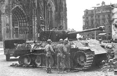 Panzer in front of the Dom. It had been destroyed a few days earlier by an M-26 Pershing.