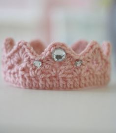 Crochet Crown Newborn Photo Prop Pink via Etsy