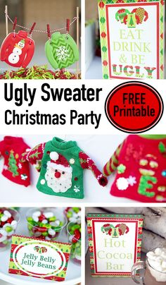 ugly christmas sweater party free printables