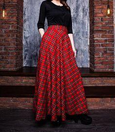 Items similar to Red Plaid Maxi Skirt, Tartan Long Woman Skirt, Maxi Skirt with pockets, Red Long Skirt on Etsy Diy Maxi Skirt, Maxi Skirt Winter, Long Plaid Skirt, Denim Skirt Outfits, Red Skirts, Plaid Skirts, Girl Skirts, Cheap Skirts, Tartan