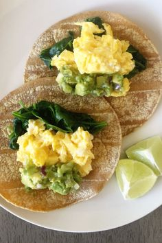 These avocado and spinach breakfast tacos are the perfect healthy breakfast to jumpstart your morning.