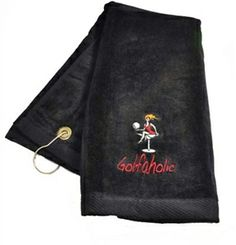 Embroidered Golfaholic Black Golf Towel. Bring onto the course - Functional Fashionable Fun!