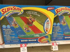 So it's spring and the warmer weather is on its way.  For those of us not lucky enough to have a pool how about a Slip m Slide ? This quad racer is #halfprice at #bigW originally $40 now $20.