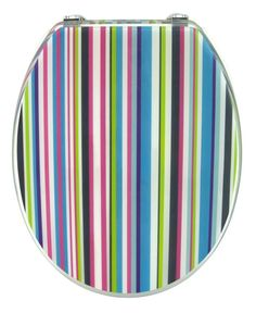 This arty coloured toilet seat features a variety of candy colours ...