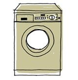 Run white vinegar through the washer. This will sanitize the inside and clear away soap scum.