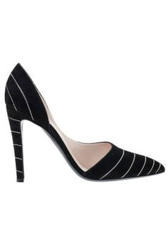Fall and Winter Heels: Giorgio Armani Black Pointed Pump with Stripe Detail