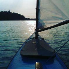 """Sailing Yak"" Nehalem Bay, North Oregon Coast. My homemade sailing rig on a tandem sea kayak."