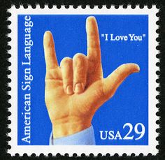 "1993 American Sign Language issue commemorated deaf communication with a hand signing ""I Love You."""