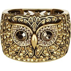 Gold look antique owl stretch bracelet