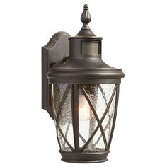 allen + roth Castine 14-in H Rubbed Bronze Motion Activated Outdoor Wall Light at Lowes.com $69