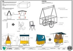 Two wheel bike wheel market trolley Mobile Kiosk, Mobile Shop, Food Cart Design, Food Truck Design, Vendor Cart, Bike Cart, Bike Food, Ecole Design, Food Kiosk