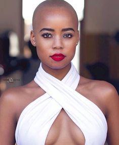 You don't need hair to be stunning. Big Chop Natural Hair, Natural Hair Styles, Short Hair Cuts, Short Hair Styles, Bald Women, Shaved Hair, Beautiful Black Women, Hair Today, Sensual