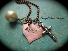 AMEN Rustic Western Cowgirl Faith Charm by cowgirlrelicsdesigns, $18.00