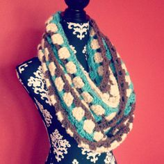Turquoise Cream & Brown Chunky Crochet Infinity by RagdollChic