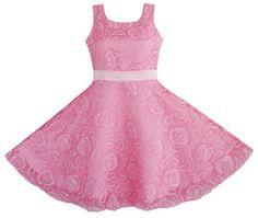 Sunny Fashion Big Girls' Dress Pink Rose Wedding Pageant Boutique