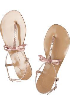 e618874079eeb9 Metallic croc-effect leather sandals by Giuseppe Zanotti Flat Sandals
