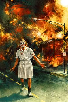 "Heath Ledger - ""The Joker"" ""Batman: The Dark Knight Rises"" - Christopher Nolan Magic Movie Moment Paintings, by Alice X Zhang Art Du Joker, Le Joker Batman, Harley Quinn Et Le Joker, Der Joker, Joker Comic, Batman Dark, Gotham Batman, Batman Robin, Heath Joker"