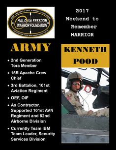 Meet 2017 Weekend to Remember Warrior Kenneth Pood #ARMY #Tora #LeaveNoVeteranBehind 17 D 5 H 44 M to liftoff! March 22-26, 2017 www.haloforfreedom.org