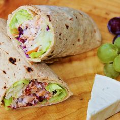 Cranberry Cherry Chicken Wrap (a quick and healthy lunch wrap, that comes together in a snap thanks to convenience grocery items)...use Multigrain flat bread; or, I might substitute flour tortilla.  :)