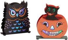 Vintage Owl and Cat LED Light Up Decor Set of 2