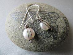 Silver Wrap Coin Pearl Earrings
