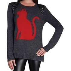 Pre-owned Bcbgmaxazria Keri Intarsia Cat Kitty Sweater ($102) ❤ liked on Polyvore featuring tops, sweaters, grey, side slit sweater, crew neck sweaters, slim fit crew neck sweater, grey crewneck sweater and grey sweater