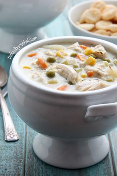 Slow cooker chicken pie soup recipe from @bakedbyrachel A hearty soup, perfect for chilly nights!