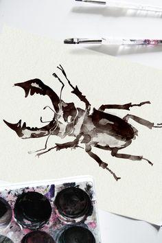 By Smäm. Photography Illustration, Illustration Art, Bio Art, Insect Art, Nature Journal, Painting Inspiration, Beetle, Watercolors, Watercolor Art