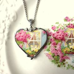 Broken china jewelry heart shaped necklace pendant antique cottage window with cabbage roses