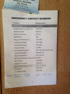 List of Emergancy phone number at a spiritual retreat - notice the top of the list is the psch ward - hospital
