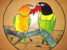 kostenlose Tiffany-Vorlage / Die Unzertrennlichen Papageien