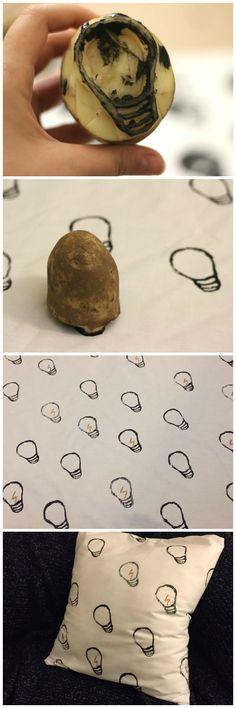 DIY Potato-Stamped Print Fabric Pillow - Curious Disposition