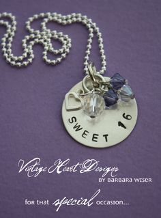 'Sweet 16' necklace by Vintage Heart Designs