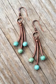 Turquoise and Copper Tube Earrings