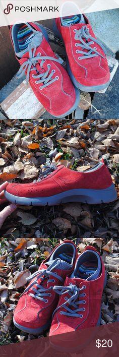 Dansko Elise Oxford Sneakers Like new condition! Super cute red suede. Dansko Shoes Sneakers