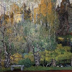 "Alexander Golovin ""neskuchny sad"", 1910, oil on canvas. 106 x 106 cm, Saratov Art Museum"