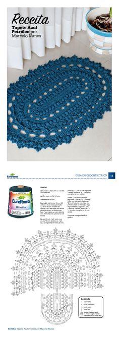 Guia do do Crochê - Moda Especial. Tapete Azul Petróleo por Marcelo Nunes, com EuroRoma 610m 4/6, na cor 902 - Azul Petróleo.