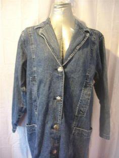 Sz M Wrangler Dark Blue Western Style Long Denim Duster Coat Jacket 8 10 Misses | eBay