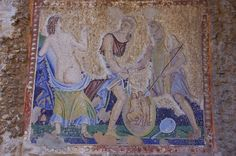 rare #mosaic outside of the House of Apollo depicts the #mythological episode of Achilles on Skyros. #pompeii #pompei #italy #ancient #archeology #pompeiiruins