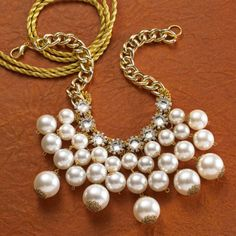 Create a DIY Baroque Pearl Collar trendy necklace with beautiful Bead Gallery pearls and gold accents