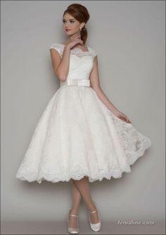 111 elegant tea length wedding dresses vintage (102)