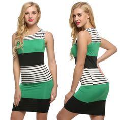 FINEJO Women Sleeveless Striped Contrast Color Patchwork Dress