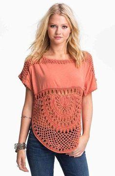 New ideas for crochet summer blouse hairpin lace Crochet Yoke, Crochet Motifs, Crochet Fabric, Crochet Blouse, Love Crochet, Beautiful Crochet, Crochet Crafts, Crochet Patterns, Crochet Clothes