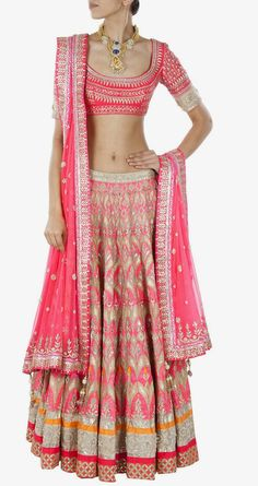 Coral Raw silk Gota patti lehenga by Anita Dongre To see more click visit: http://theindianweddingguide.wordpress.com/