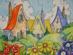"""Favorite Colors - Storybook Cottage Series"" by Alida Akers Cute Cottage, Cottage Art, Vintage Illustration Art, Storybook Cottage, House Drawing, Whimsical Art, Gravure, Home Art, Illustrators"