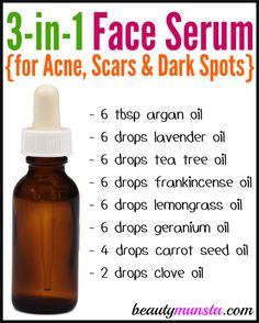 DIY Face Serum for Acne, Scars and Dark Spots – beautymunsta – free natural beauty hacks and more! DIY Face Serum for Acne, Scars and Dark Spots – beautymunsta – free natural beauty hacks. Homemade Skin Care, Diy Skin Care, Skin Care Tips, Homemade Beauty, Diy Beauty Oil, Homemade Body Wash, Homemade Face Moisturizer, Acne Moisturizer, Acne Serum