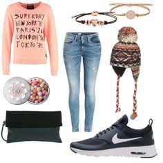 OneOutfitPerDay 2016-01-05 - #ootd #outfit #fashion #oneoutfitperday #fashionblogger #fashionbloggerde #frauenoutfit #herbstoutfit - Outfit des Tages Frauen Outfit Frühlings Outfit Herbst Outfit Winter Outfit Skinny Clutch Superdry Sneaker Armband Tommy Hilfiger Sweatshirt Fossil Skinny Jeans Urban Outfitters Lederarmband Nike Sportwear Guerlain Lierys Gesichtsmakeup