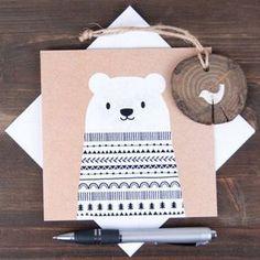Новогодняя открытка - - Christmas postcard: Достаточно вырезать фигуру мишки, а затем ручкой или фломастером разрисовать самыми простыми узорами